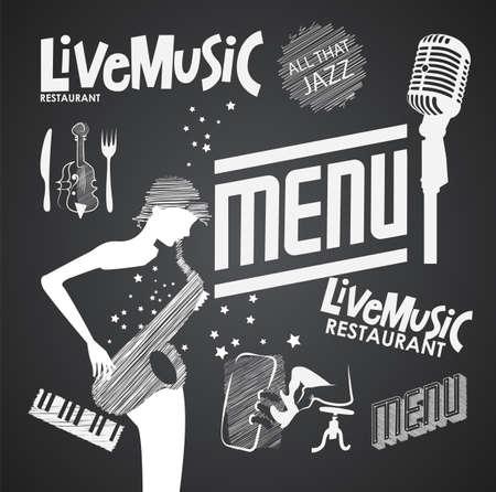live music: Illustration of a vintage graphic element for menu on blackboard Illustration
