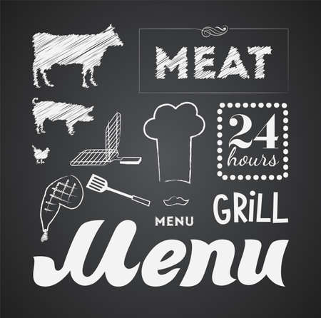 Illustration of a vintage graphic element for menu on blackboard Vector