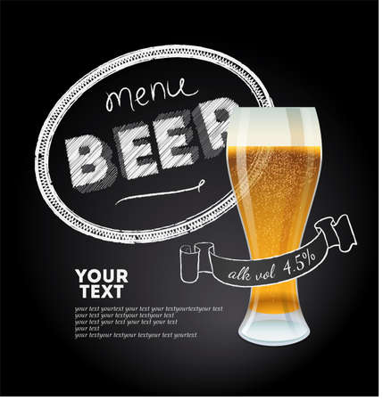 beer party: Cover of menu for brasserie  Vector illustration  Eps 10