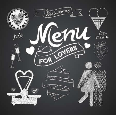pareja comiendo: Ilustración de un elemento gráfico del vintage para el menú en la pizarra Vectores
