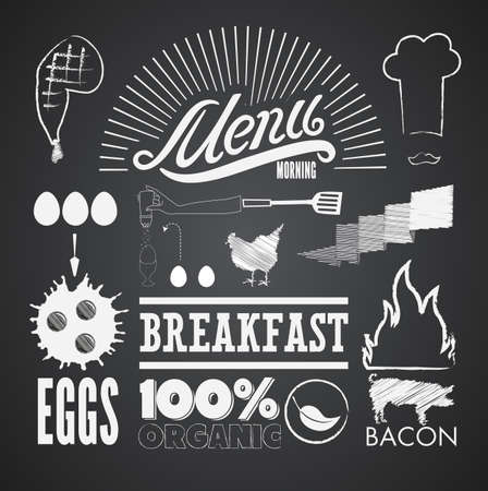 bacon art: Illustration of a vintage graphic element for menu on blackboard Illustration