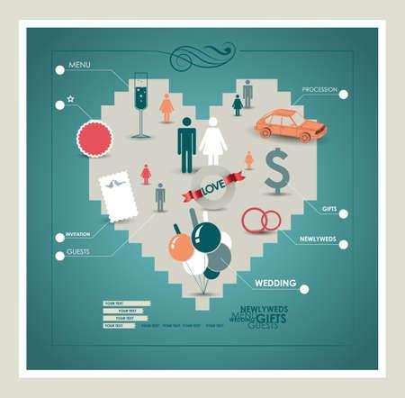 Wedding infographic  Vector illustration  Eps 10