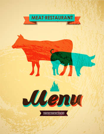 Meat menu  Vector illustration