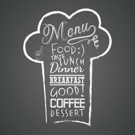 menu board: Vector menu design on the chalkboard