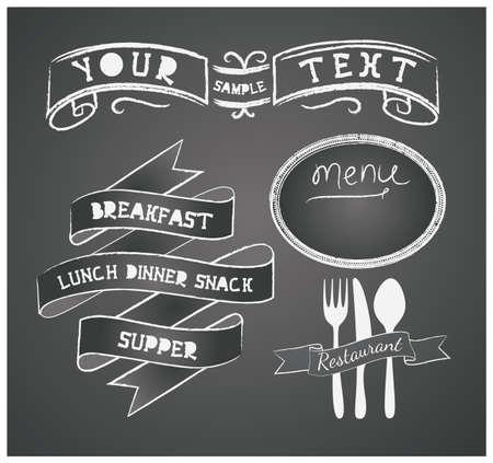 Vector set of design elements for the menu on the chalkboard Illustration