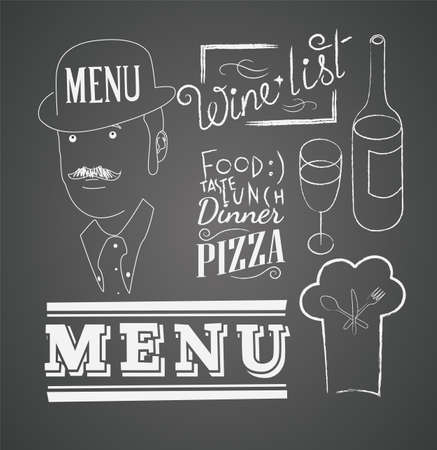 Illustrations of design elements for the menu on the chalkboard