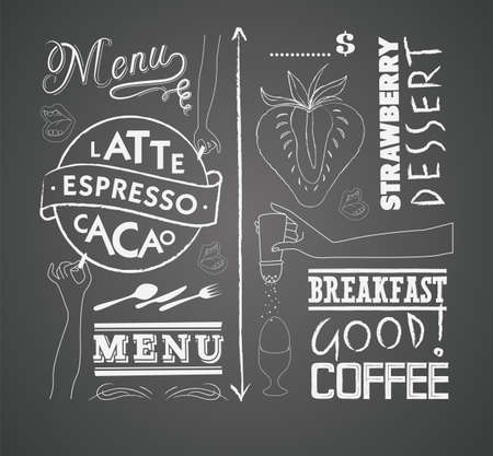 Vector set of design elements for the menu on the chalkboard Vector