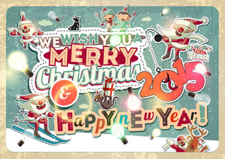 Christmas card with characters Vector