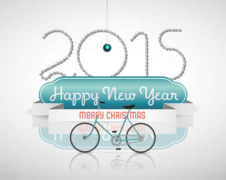 Vector Christmas Background with Retro Bicycle Illustration
