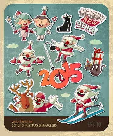 Set of Christmas characters Vector
