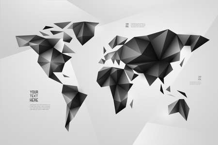 diamonds: World map background in origami style. Vector background. Eps 10