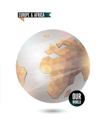 Europe & Africa. World background in origami style.