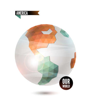 America. World background in origami style.