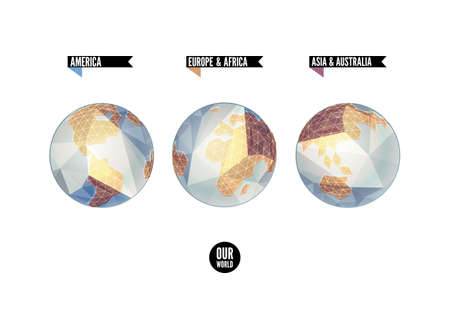 Planet in three positions. World background in origami style. Illustration