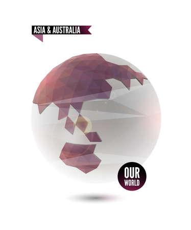 Asia & Australia. World background in origami style.