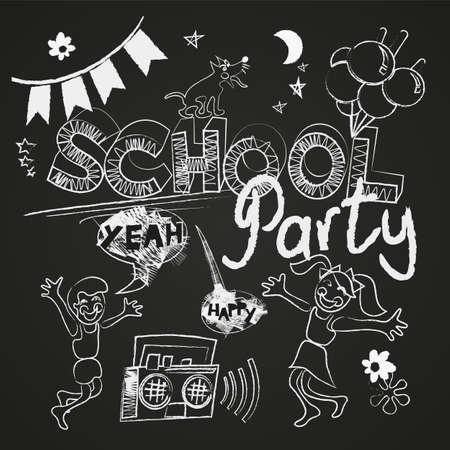 School party vector set on the chalkboard Vector