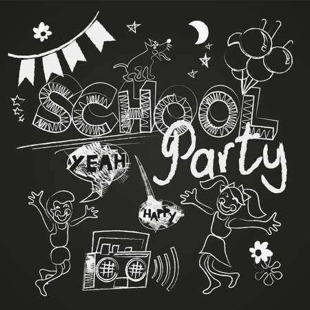 School party vector set on the chalkboard Illustration