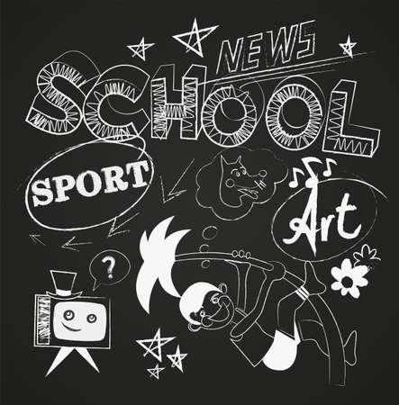 School news vector set on the chalkboard