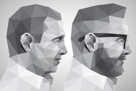 omini bianchi: Ritratto di due uomini Vettoriali