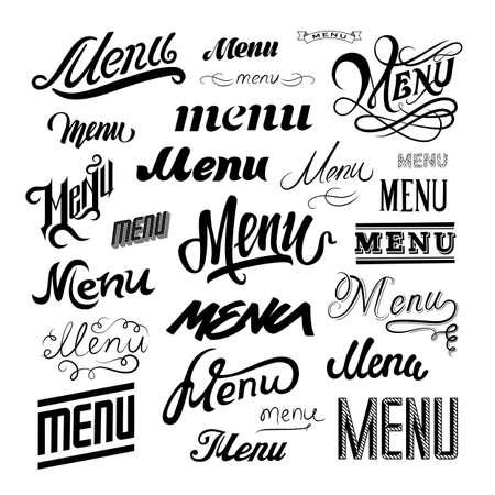 menu background: Menu sign calligraphic design elements Illustration
