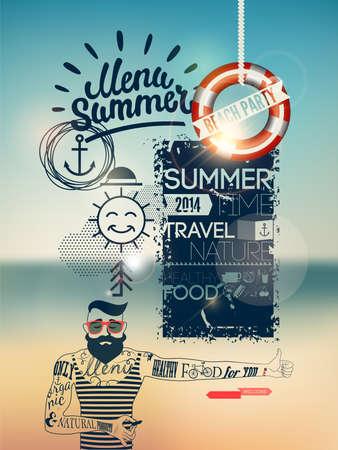 Summer Menu poster Illustration
