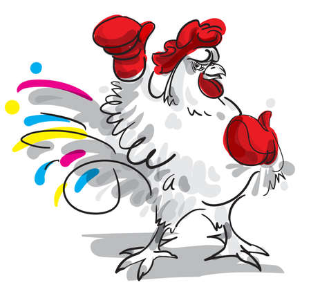 fighting: Fighting rooster cartoon character. Vector illustration.