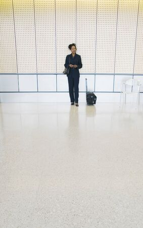 effrontery: Young businesswoman standing in an airport with luggage LANG_EVOIMAGES