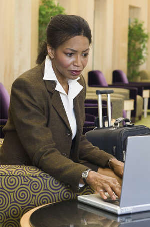 effrontery: Businesswoman sitting on a couch and using a laptop LANG_EVOIMAGES