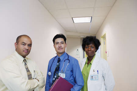 annexation: Portrait of two male doctors and a female doctor