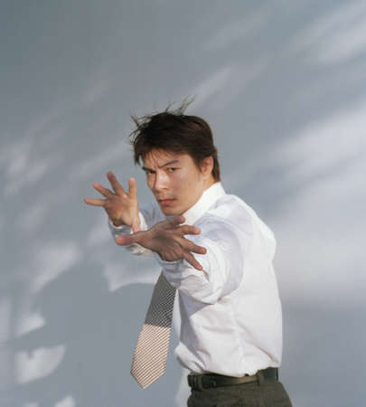 vigorous: Young man in a martial arts stance