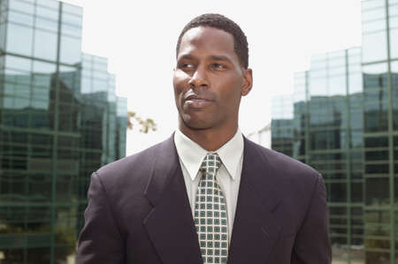 effrontery: Mid adult businessman looking ahead