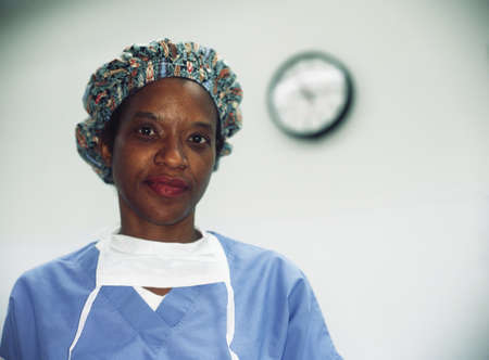 Portrait of a female nurse wearing full scrubs