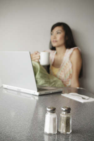 Young woman sitting in front of a laptop Stock Photo - 16044484