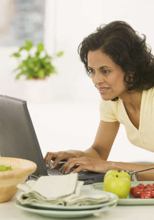Woman working on a laptop Stock Photo - 16044621