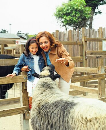 children's wear: Mother and daughter looking at sheep behind a fence