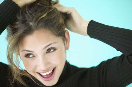 exquisiteness: Young woman smiling looking at the side