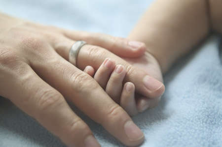 solicitous: Babys hand holding an adults hand
