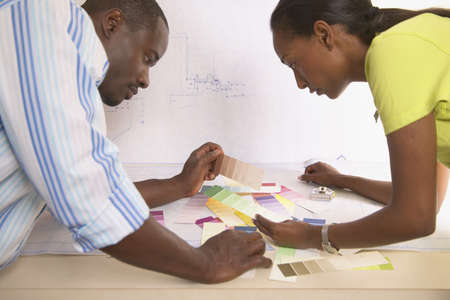 ingenuity: Young couple looking at color samples