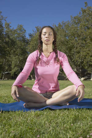 Young woman doing yoga on a lawn Stock Photo - 16045303
