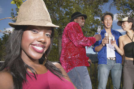 Group of young people at an outdoor party Stock Photo - 16045495