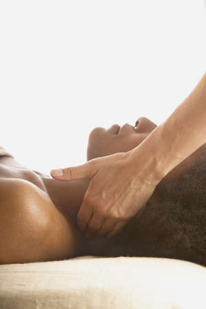 Woman receiving a neck massage Stock Photo - 16045593