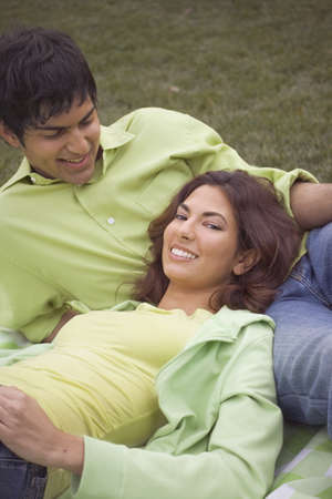 High angle view of a young couple smiling Stock Photo - 16045945