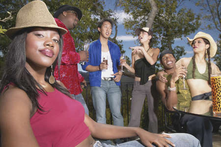 Group of young people at an outdoor party Stock Photo - 16046617