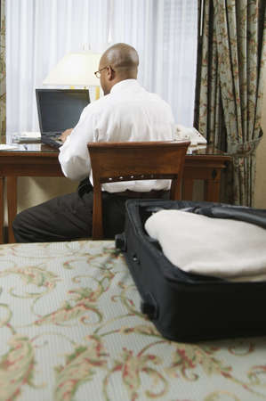 Rear view of a mid adult man working on a laptop Stock Photo - 16046763