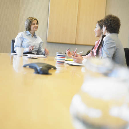 Three businesswomen discussing in a board room Stock Photo - 16046964