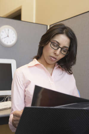 Businesswoman reading a file in an office Stock Photo - 16043271
