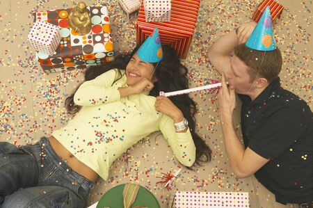 High angle view of a young couple celebrating at a birthday party Stock Photo - 16047678