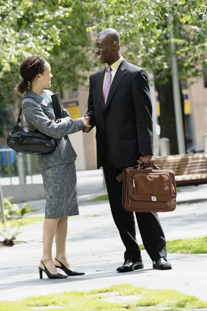 courteous: man and woman shaking hands LANG_EVOIMAGES