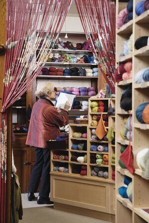 taking inventory: Woman taking inventory in yarn shop