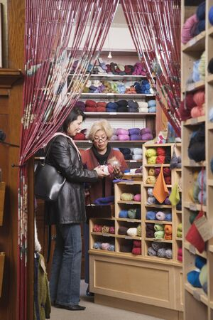Two women in yarn shop Stock Photo - 16070575